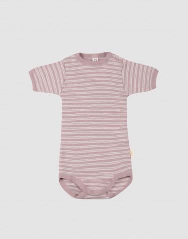 Baby romper met korte mouwen van biologische wol en zijde pastelroze/natuur