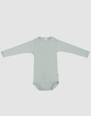 Baby romper met lange mouwen van biologische wol en zijde pastelgroen