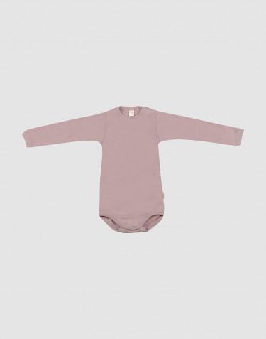 Baby romper met lange mouwen van biologische wol en zijde pastelroze