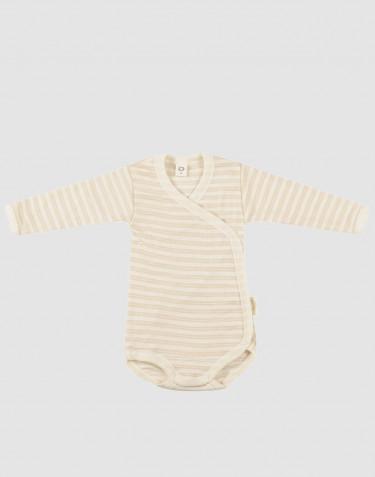 Wikkelromper van biologische wol/zijde voor baby's beige/crème