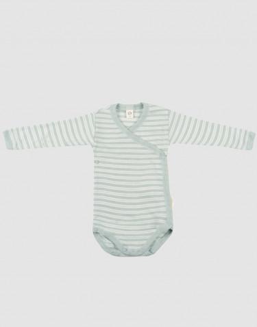 Baby wikkelromper van biologische wol en zijde pastelgroen/natuur