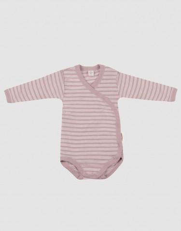 Baby wikkelromper van biologische wol en zijde pastelroze/natuur
