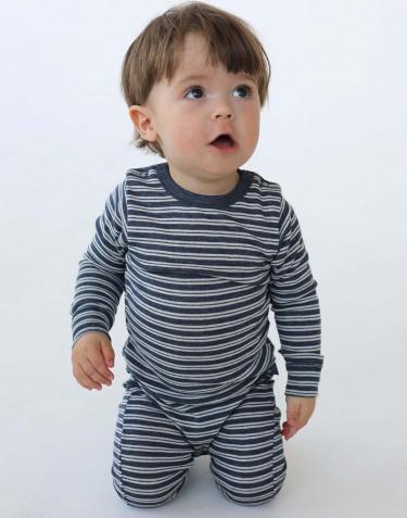 Merino wollen / zijden boxpakje met lange mouwen voor baby's