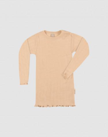 Merino wollen/zijden pointelle top met lange mouwen voor baby's