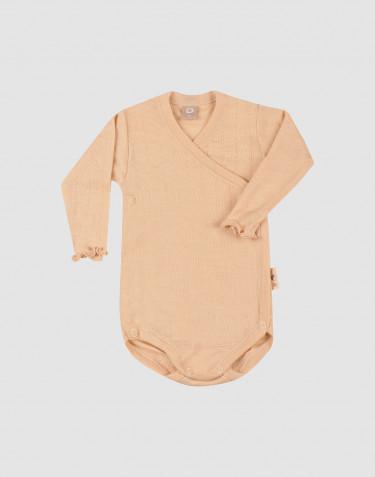 Merino wollen/zijden pointelle overslagromper voor baby's
