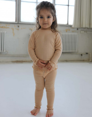 Merino wollen/zijden pointelle legging voor baby's