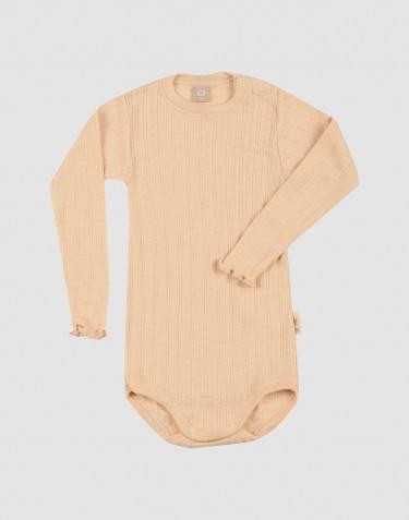 Merino wollen/zijden pointelle romper met lange mouwen voor baby's