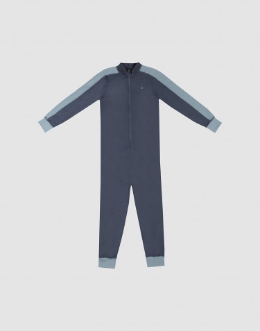 Jumpsuit voor kinderen - Exclusieve natuurlijke merinowol blauwgrijs