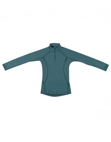 Kinder trui met rits gemaakt van exclusieve merinowol groen-blauw