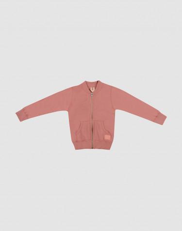 Kindervest met ritssluiting van terry donker roze