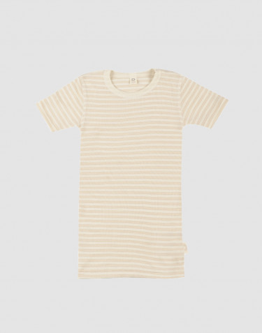Kinder T-shirt van biologische wol/zijde beige/crème