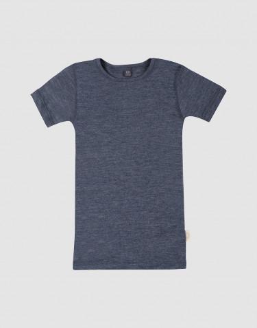 Kinder T-shirt van wol en zijde blauw melange