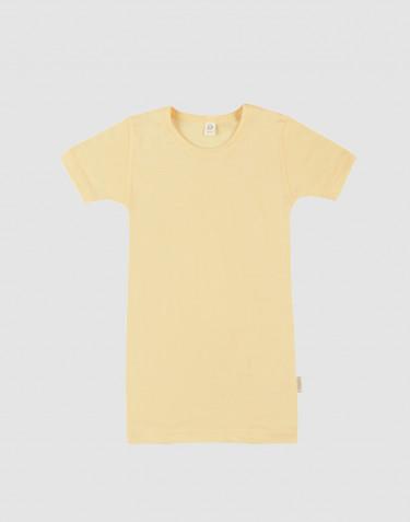Kinder T-shirt van biologische merino wol en zijde lichtgeel