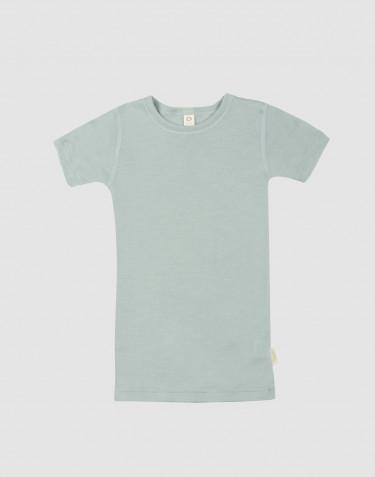 Kinder T-shirt van wol en zijde pastelgroen