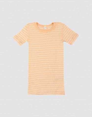 Kinder T-shirt van biologische wol en zijde abrikoos/natuur
