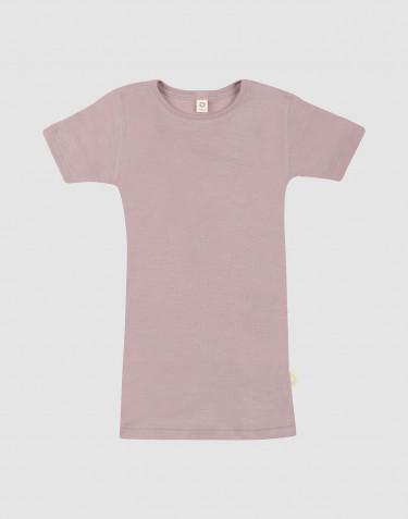Kinder T-shirt van wol en zijde pastelroze
