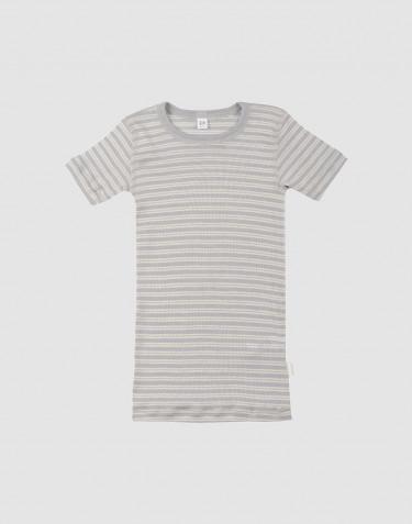 Kinder T-shirt van biologische wol en zijde grijs/natuur