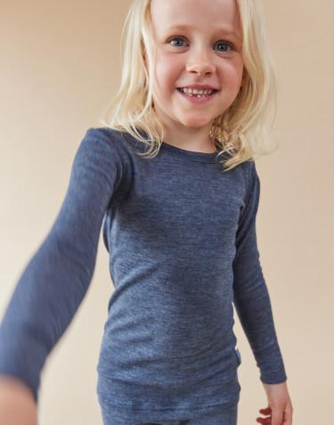 Kindertrui van biologische merino wol en zijde blauw melange