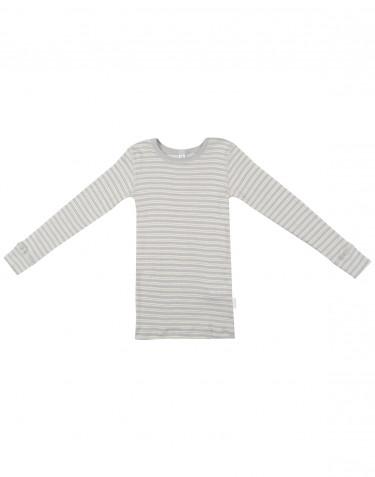 Kindertrui van biologische wol en zijde grijs/natuur