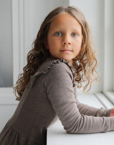 Merino wollen jurk met ruches voor kinderen