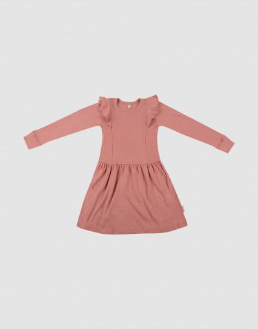 Wollen jurk met ruches voor kinderen - donker roze