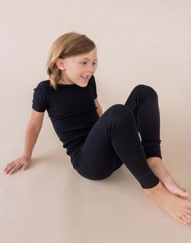 Kinder T-Shirt BIO merino wol zwart