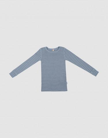 Kinder shirt van bio merinowol blauw gestreept