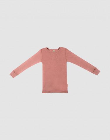 Kinder shirt van bio merinowol donker roze