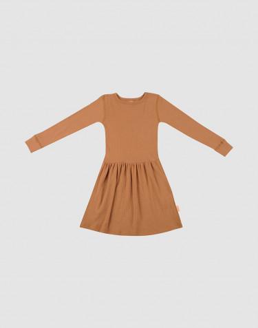 Geribde wollen jurk voor kinderen karamel