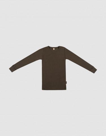 Breed geribde wollen trui voor kinderen chocoladebruin