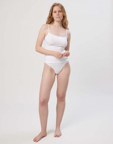 High waist katoenen string voor dames wit