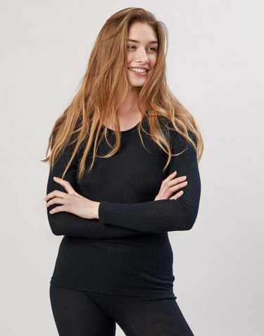 Geribd damesshirt van merinowol zwart