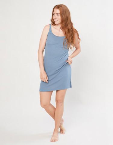 Merino wollen nachthemd met bandjes voor dames - Blauw