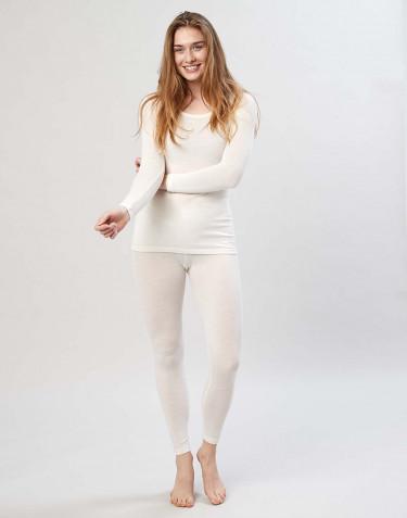 Merino wollen dames legging met brede elastische band natuur