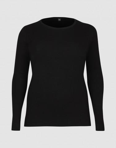 DILLING - Maatje meer zwart wollen shirt lange mouwen