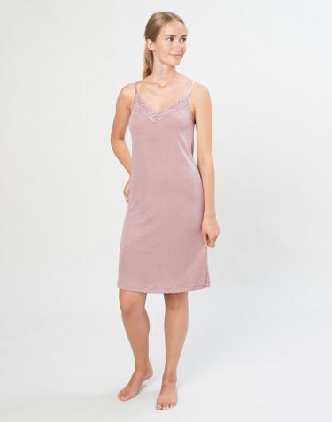 Damesnachthemd van natuurlijke wol en zijde pastelroze