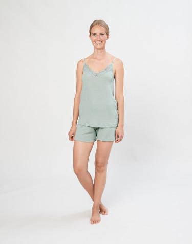 Dames shorts van natuurlijke wol en zijde pastelgroen