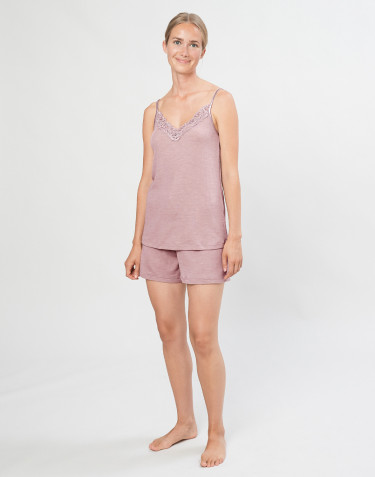 Dames pyjamashorts van biologische wol en zijde pastelroze