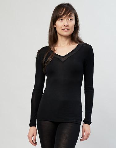 Longsleeve voor dames van wol/zijde zwart