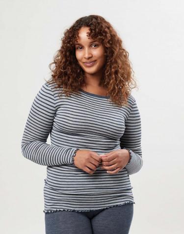 Merino wollen/zijden T-shirt met lange mouwen inclusief ruches voor dames.