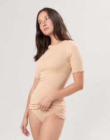 Merino wollen/zijden pointelle T-shirt voor dames