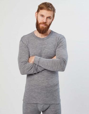 Merinos shirt met lange mouwen voor heren grijs