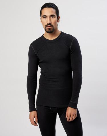 Merinos shirt met lange mouwen voor heren zwart
