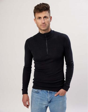 Merinos heren shirt met lange mouwen en rits zwart