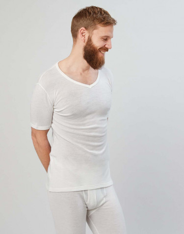 Merinos T-shirt met V-hals en half lange mouwen natuur