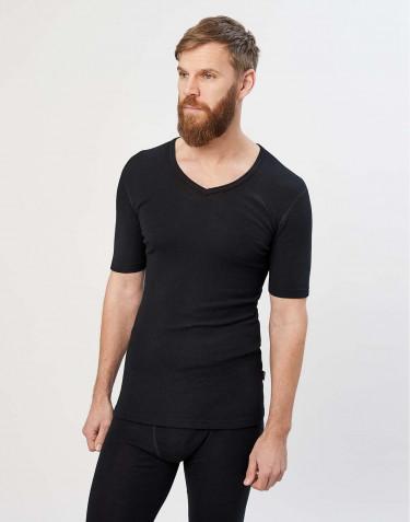 Merinos T-shirt met V-hals en half lange mouwen zwart