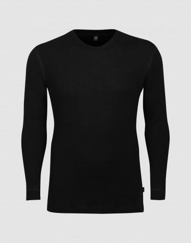 DILLING - Maatje meer wollen heren shirt met lange mouwen zwart