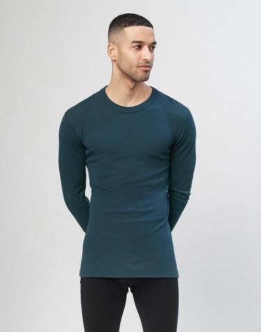 Heren trui van merino wol Donker petrolblauw