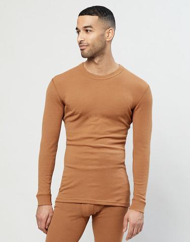 Heren trui van merino wol karamel
