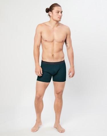 Geribde merino boxershorts Donker petrolblauw